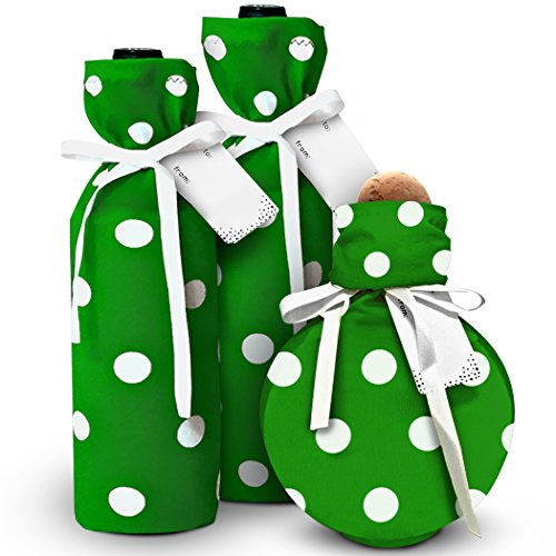 Wine Bags for All Occasions - New & Unique (Set of 3 with Gift Tags and Satin Bows) Stretchy Fabric, Reusable and Eco Friendly - Spirit Wraps - Green w/White Polka Dots - Hugs The Bottle!