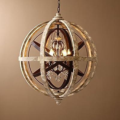 Retro Rustic Weathered Wooden Globe Metal Orb Crystal 4-Light Pendant Lighting Chandelier Ceiling Light