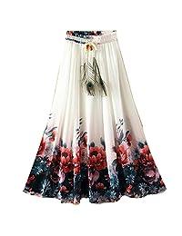 kafeimali Flowy verano de la mujer chifón largo Maxi Falda Boho Playa a-line vestido