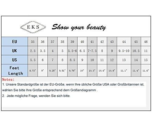 EKS Damen Spitz Kleid-Partei High Heels Kleid-Partei Spitz Pumps Schwarz-Lackleder 430d9a