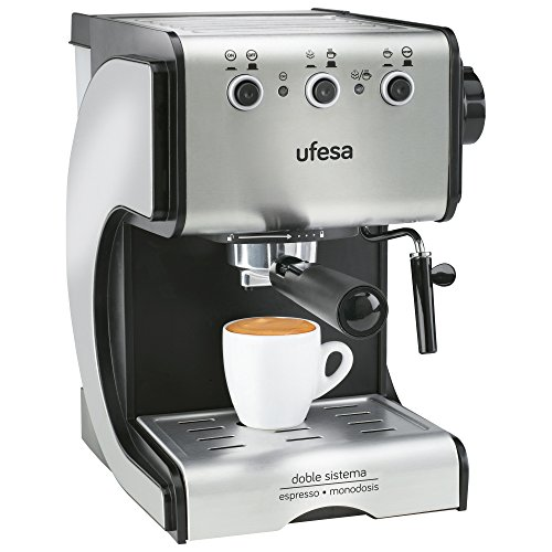 Ufesa Cafetera expreso Duetto Creme CE7141, 500 W, 1 Cups, Acero Inoxidable, Gris