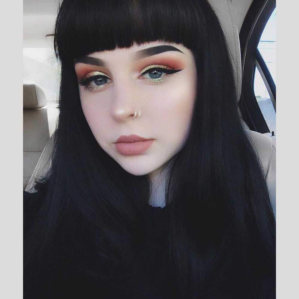 DIFEI Rockabilly Vintage Wig Audrey Hepbum Short Bang Wig Long Straight Wigs for Women (Black Straight)