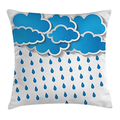 Farmhouse Decor Throw Pillow Cushion Cover, Trippy Convective Cloud Group Figures Like Savannah Forecast Drips Theme, Decorative Square Accent Pillow Case, 18 X 18 Inches, Blue White
