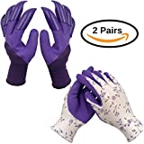 2 Pairs of Garden Gloves, one pair with fingertip claws and one pair without claws- Washable, Abrasion Resistant, Moisture Resistant | for Roses | for Digging and Planting | Women and Men