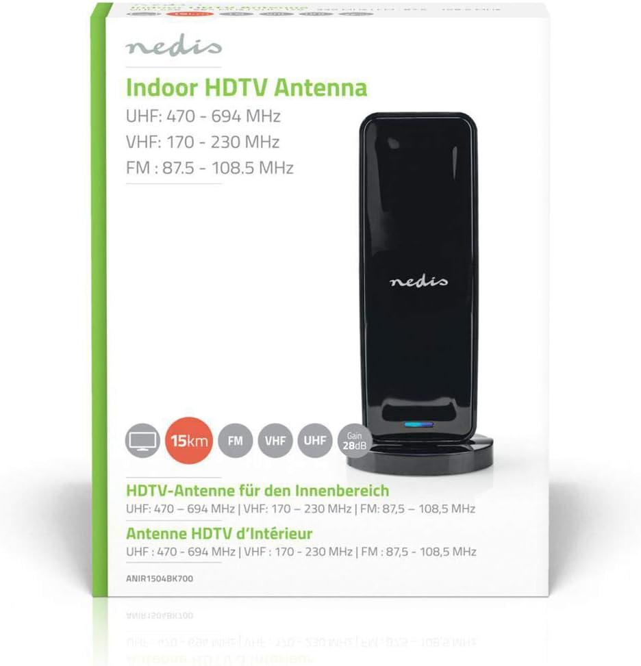 Nedis ANIR1504BK700 Antena Interior HDTV | 0-15 km | 26 dB de ...