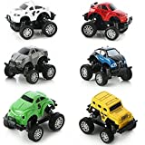 Monster Cars and Trucks - iPlay, iLearn Set of 6 Monster Cars and Trucks, Die Cast, Spring-loaded, Pull-Back Friction