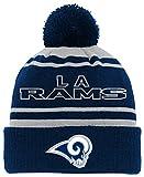 NFL Youth Boys Reflective Cuff Knit Pom Hat-Dark Navy-1 Size, Los Angeles Rams