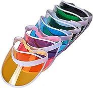 Beach Tennis Plastic Sun Visors Hat Unisex Golf Visor Sun Hat Cap for Outdoor, One Size, 6 Packs