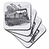 3dRose cst_47894_1 Antique Steam Train Sketch Soft Coasters, Set of 4