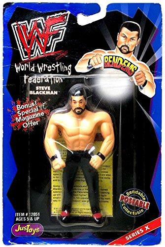 Jakks Pacific WWE Wrestling WWF Bend-Ems Series 10 Steve Blackman Rubber Figure (Wrestling Bend)