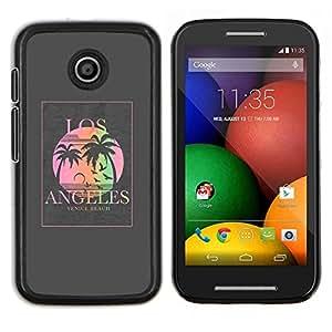 Caucho caso de Shell duro de la cubierta de accesorios de protección BY RAYDREAMMM - Motorola Moto E - los Ángeles cartel gris palmera sol