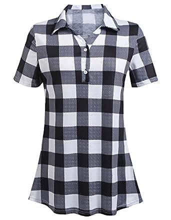 JQstar Women's Fashion Split V Neck Long Sleve Casual Short Sleeve Plaid Tunic Blouse Tops(Black,S)
