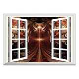 SCOCICI Removable Wall Sticker/Wall Mural/Fractal,Gothic Medieval Heraldic Ornamental Background Middle Age Knight Aged Artwork Print Decorative,Copper/Wall Sticker Mural