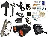 Survival Camping Hiking Kit: Emergency First Aid, 20X70 Binoculars Ruby,Sharpener, Axe, Fire Blade, Whistle Flint Striker Belt Buckle, ACU Hydration Backpack, Multi Tool, Compass, Signal Mirror