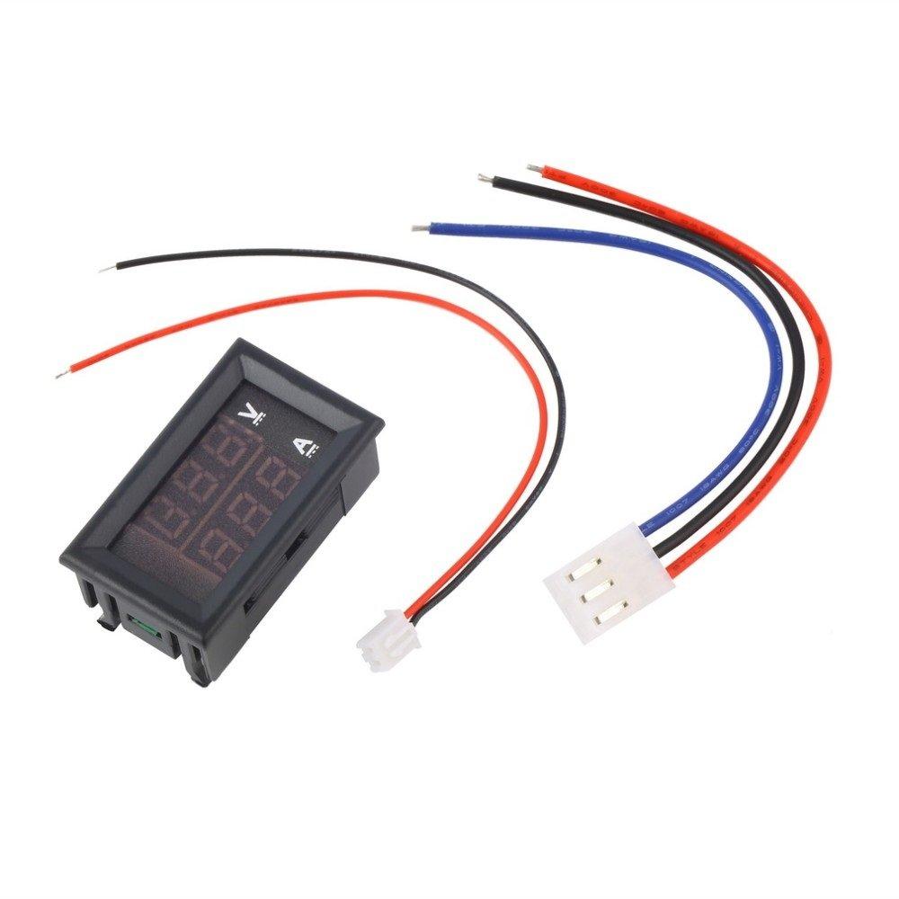 Ebay Volt Amp Meter Wiring Diagram Automotive Voltmeter Digital Ane Dc 0 100v 10a Ammeter Red Blue Led Dual Voltage