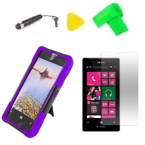 Purple w Black T-Stand Hybrid Phone Case Cover Cell Phone Accessory + Extreme Band + Stylus Pen + LCD Screen Protector + Yellow Pry Tool for Nokia Lumia 521