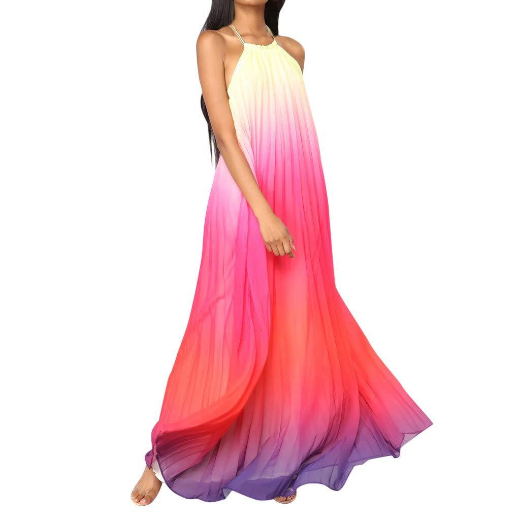 Women Summer Beach Maxi Dresses Halter Flowy Chiffon Floral Evening Party Long Dress (L,Red)