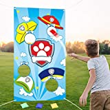 PANTIDE Paw Dog Patrol Toss Games with 4 Bean Bags, Puppy Party Games Fun Indoor Outdoor Games, Paw Dog Patrol Themed Birthday Party Decoration Supplies, Great Throwing Games Large Banner for Kids and Adults