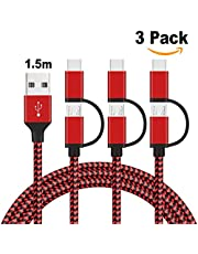 2 en 1 Multi USB Cable,GlobaLink Cable de Micro USB y Tipo C Cable Carga&Sync Rápida Nylon Trenzado Compatible Samsung Galaxy,Huawei,Nexus,LG,Sony,Google,Nexus,OnePlus, Lumia(3 Pack 1,5m) Rojo&Negro