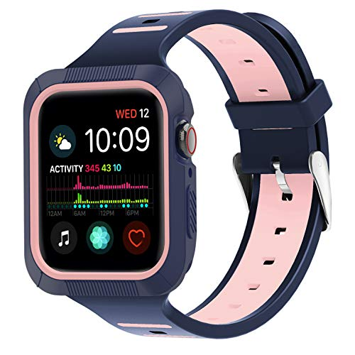 ZYTX Compatible with Apple Watch Band 40mm, Silicone Band with Shock-Proof and Shatter-Resistant Protective Case Replacement for Apple Watch Series 4 (Midnight Blue/Vintage Rose)
