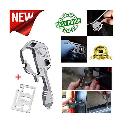 ErYao Multi Tool Keychain + Multitool Card, 16-in-1Key Tool - Stainless Steel Tactical tools: Bottle Opener, Sharp Blade, Screwdriver, Ruler,trowel & Wrench Set - Original Ultimate Multi Tool (Silver)