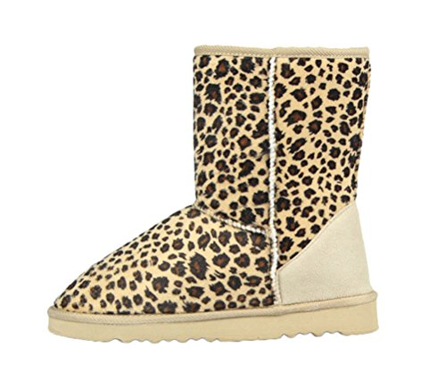 T&Mates Womens Classic Fully Faux Fur Lined Mid Calf Faux Suede Pull-on Flat Snow Boots (7 B(M)US,Leopard)