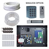 Complete Access Control Single 1 Door Package Network Control Board Metal Case Power Supply Mag Lock, Keypad Reader,RFID Password USB Reader, Push Request to Exit Button, Cable, Fobs, Cards and Batter