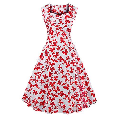 La mujer vestidos de verano vestidos estampados florales Vintage Retro estilo elegante casual Oficina vestidos vestido de fiesta Como se muestra en la figura 76