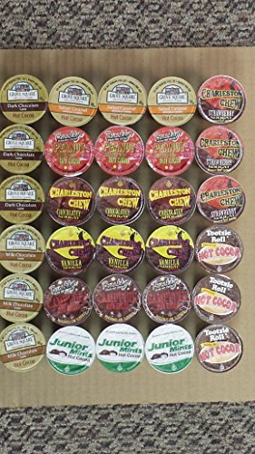 30-count Variety Hot Chocolate Cocoa Sampler for Keurig® K-cup® Brewers - Tootsie Roll, Junior Mints, Sugar Babies, Brooklyn Beams Roastery, Grove Square and Charleston Chew