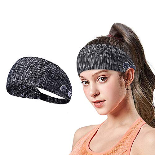 Yoga Sports Headband with Button Anti-Strap, Stretch Wide Hair Bandana to Protect Ears for Women/Men and Everyone, Shower Workout Elastic Sport Sweatband (gray 1)