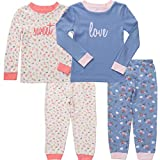 Asher & Olivia Pajamas for Girls 4 Pc Cotton Pj Set for Baby Toddler Little Kid