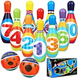 AMOMO Kids Bowling Set,Toddlers Educational Toys 10 Indoor Colorful Soft Foam Pins 2 Bowling Balls Printed with Number Recognition Toys Sport Gift for Baby Boys Girls Age 3 4 5 6 Years Old