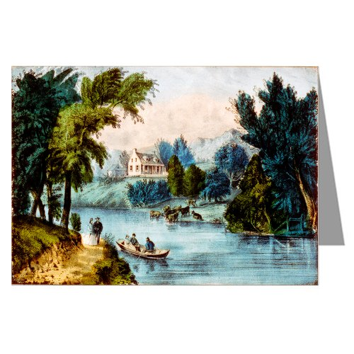 Single Greeting Card of Currier And Ives Handcolored Lithograph titled
