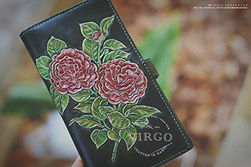Camellia hand tooled long wallet for women | Personalized Vintage vegetable tanned leather handmade wallet by Virgo Handmade Leather