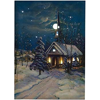 Amazon Com Ohio Wholesale Snowy Church Canvas With Timer
