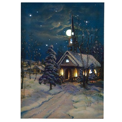 ohio wholesale snowy church canvas with timer radiance lighted wall art ebay. Black Bedroom Furniture Sets. Home Design Ideas