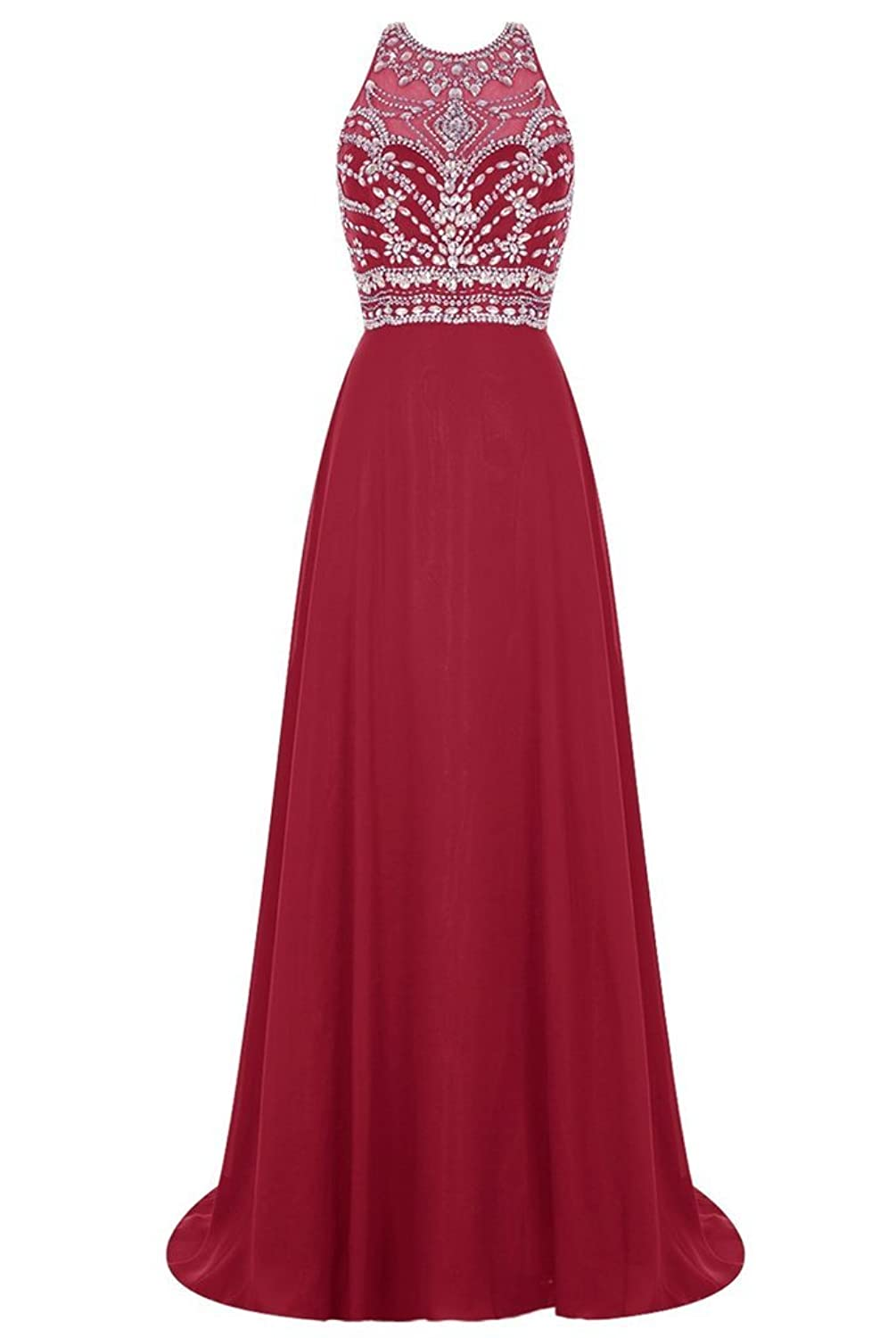 Charm Bridal Long Sexy Sequin Train Mother of Bride Women Party Dress with Slit -2-Dark Red