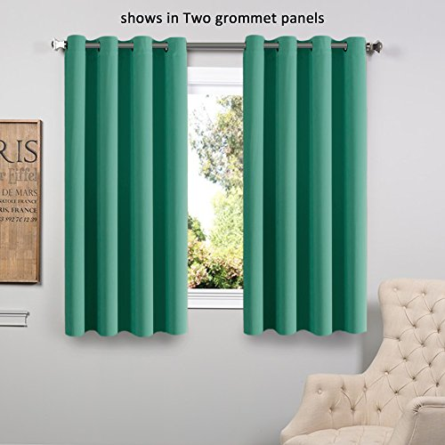 Flamingop Room Darkening Blackout Curtains Window Panel Drapes Turquoise  Color 1 Panel 52x63inch Each Panel 8