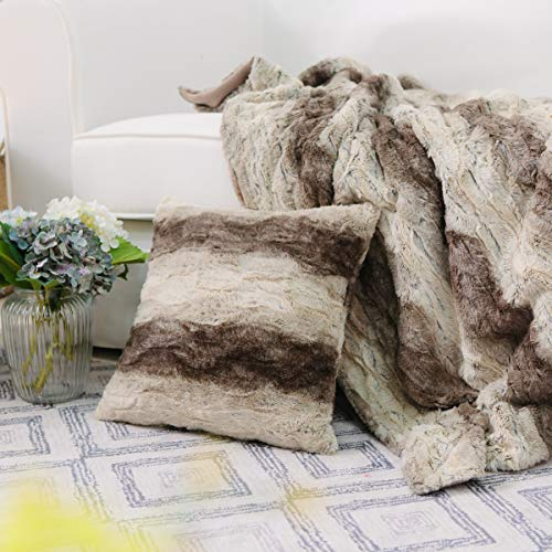 NordECO HOME Throw Blanket and Pillow Cover Set Super Soft Shaggy Flannel Fleece Sherpa 50