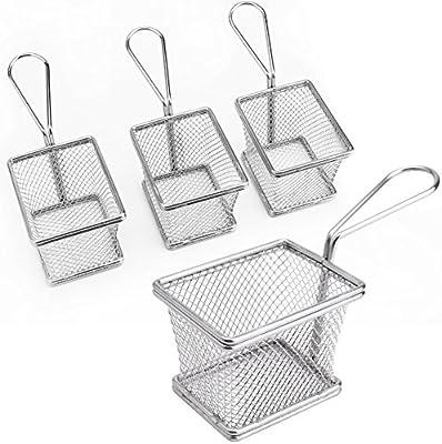 CLE DE TOUS - 4pcs Mini Cesta para patatas fritas Cesta freidora acero inoxidable para raciones aperitivos hamburguesas sandwiches (cuadrada)