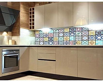 Azulejos, pellicola autoadesiva per la parete della cucina, 180 x 60 cm.  Pellicola decorativa, paraschizzi per la cucina. Di altissima qualità