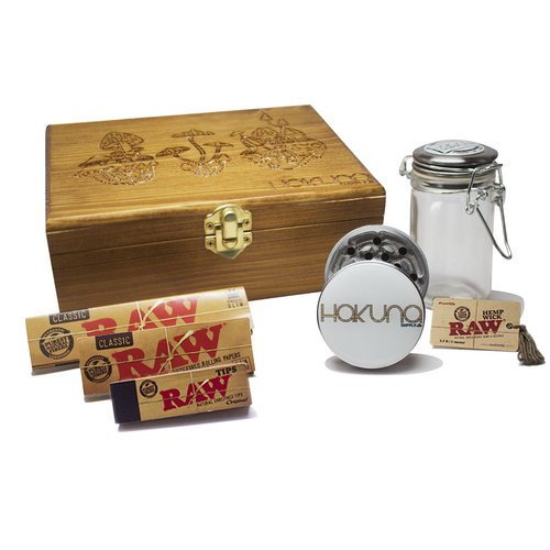 Trippy-Mushroom-Stash-Box-Bundle-Hakuna-Grinder-Hakuna-Stash-Jar-Raw-Accessories-Bundle