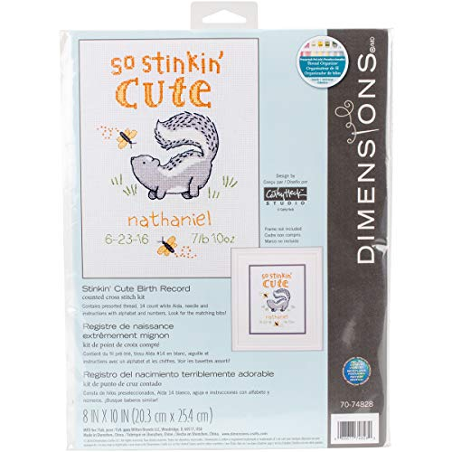 Dimensions Counted Cross Stitch Kit 'Stinkin Cute' Birth Record Personalized Baby Shower Gift, 8'' x 10''