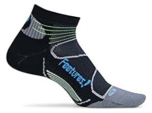 Feetures! Elite Light Cushion Low Cut Socks, X-Large, Black/Brilliant Blue