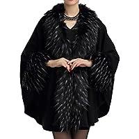 Helan Mujeres Moda lujo Pure Color Piel Sintética Cape Coat