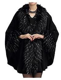 Helan Women's Fashion Luxury Pure Color Faux Fur Cape Coat