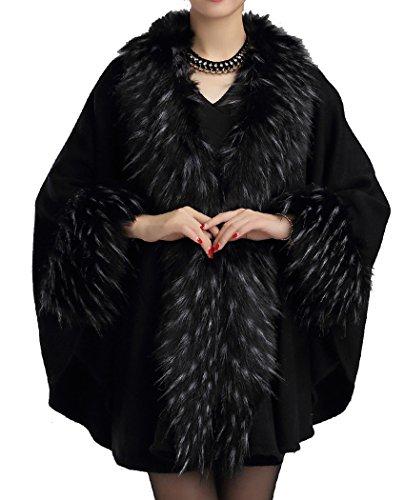 Helan Women's Fashion Luxury Pure Color Faux Fur Cape Coat Black ()