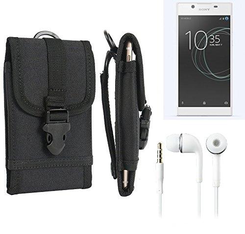 bolsa del cinturón / funda para Sony Xperia L1, negro + Auriculares | caja del teléfono cubierta protectora bolso - K-S-Trade (TM)