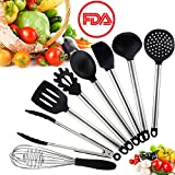 HENSUN Kitchen Utensil Set 8 Cooking Utensils Silicone & Stainless Steel with Spatula Set Nonstick Kitchen Gadgets Cookware Set Great Kitchen Tool Gift