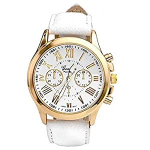Women's Watch, Ruhiku GW Fashion Geneva Roman Numerals Analog Quartz Wrist Watch Specially Designed With Metal Case And Faux Leather Band Wristwatch (White)